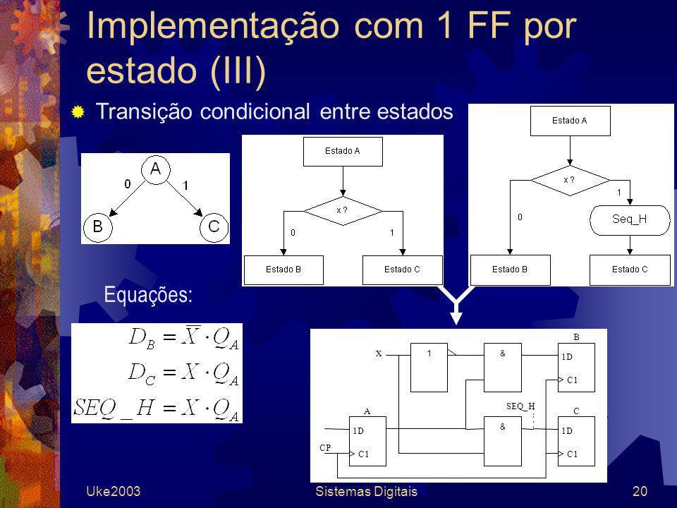 Implementação com 1 FF por estado (III)