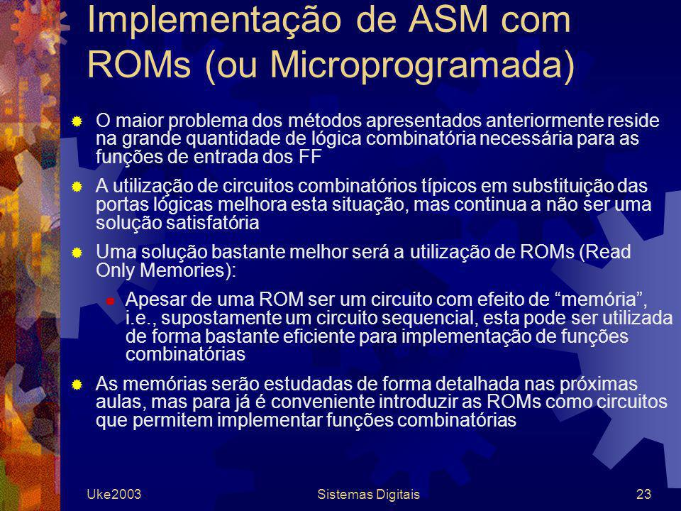 Implementação de ASM com ROMs (ou Microprogramada)