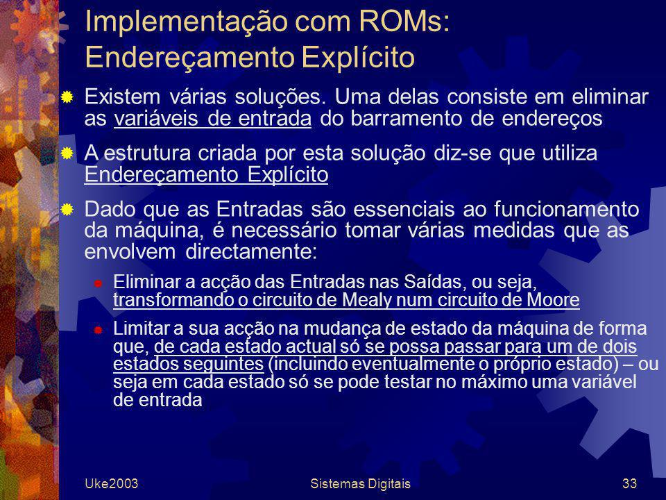 Implementação com ROMs: Endereçamento Explícito