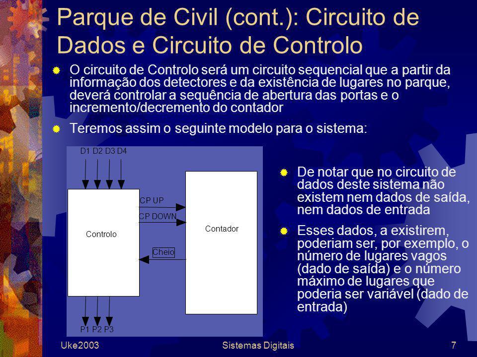 Parque de Civil (cont.): Circuito de Dados e Circuito de Controlo