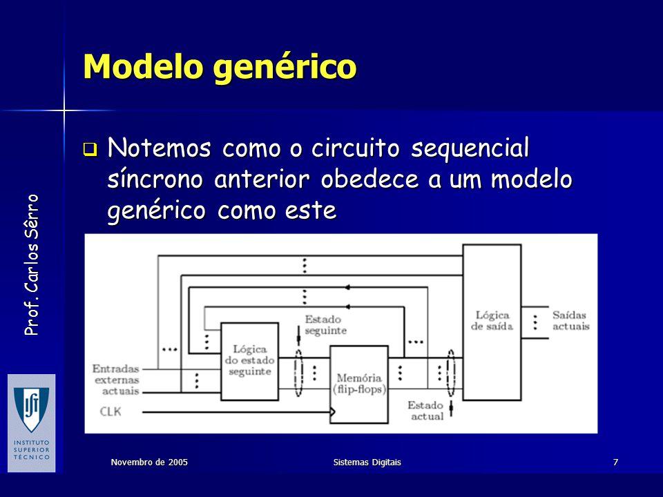 Modelo genérico Notemos como o circuito sequencial síncrono anterior obedece a um modelo genérico como este.