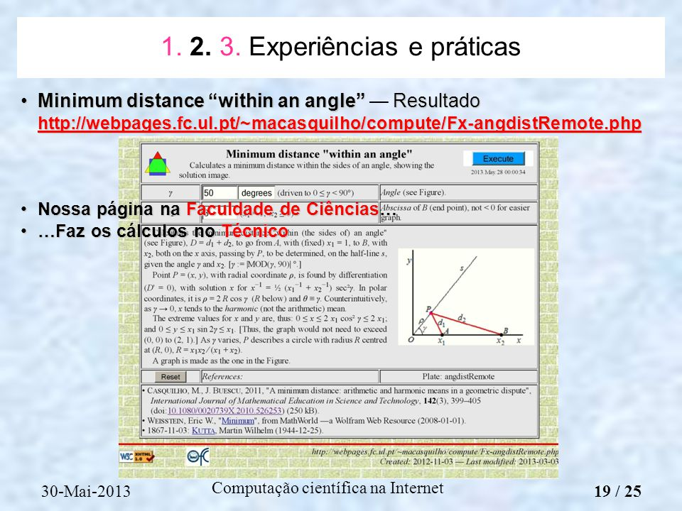 1. 2. 3. Experiências e práticas