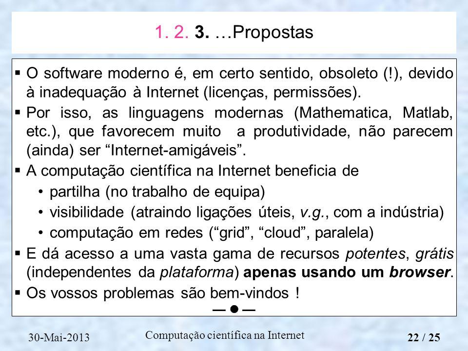 1. 2. 3. …Propostas O software moderno é, em certo sentido, obsoleto (!), devido à inadequação à Internet (licenças, permissões).