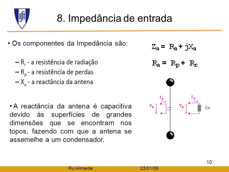 8. Impedância de entrada Os componentes da Impedância são: