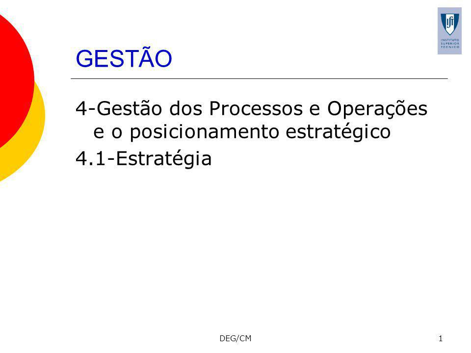 GESTÃO 4-Gestão dos Processos e Operações e o posicionamento estratégico 4.1-Estratégia DEG/CM