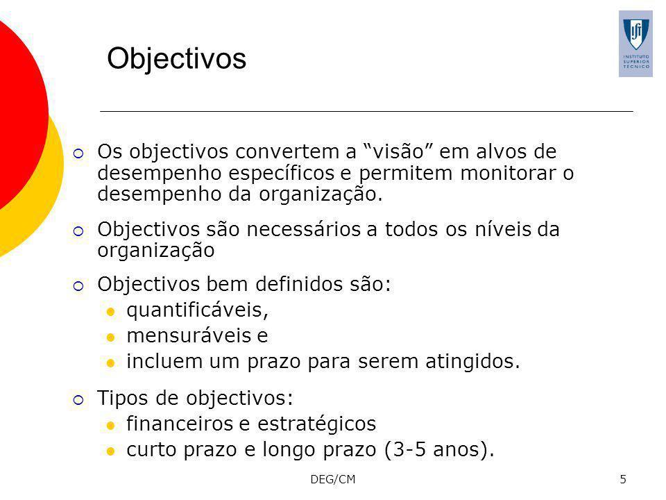 Objectivos Os objectivos convertem a visão em alvos de desempenho específicos e permitem monitorar o desempenho da organização.