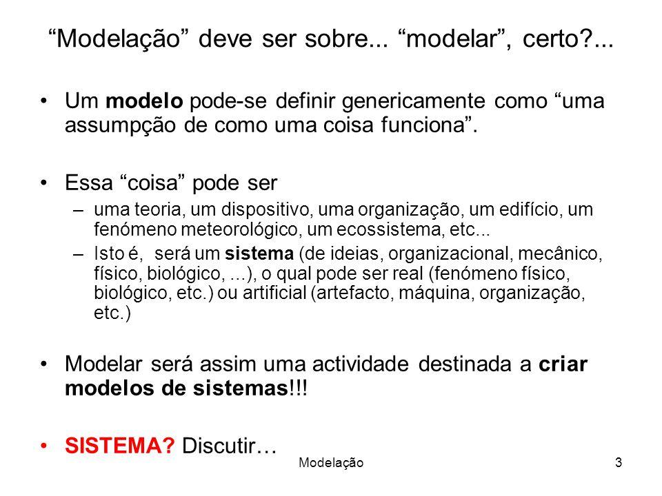 Modelação deve ser sobre... modelar , certo ...