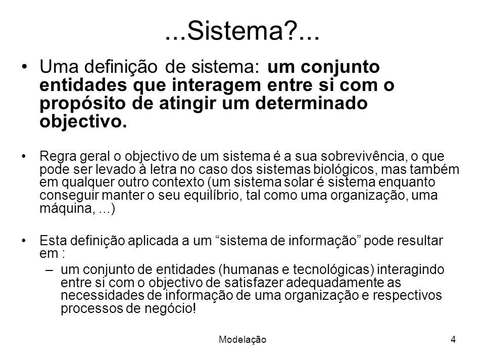 ...Sistema ... Uma definição de sistema: um conjunto entidades que interagem entre si com o propósito de atingir um determinado objectivo.