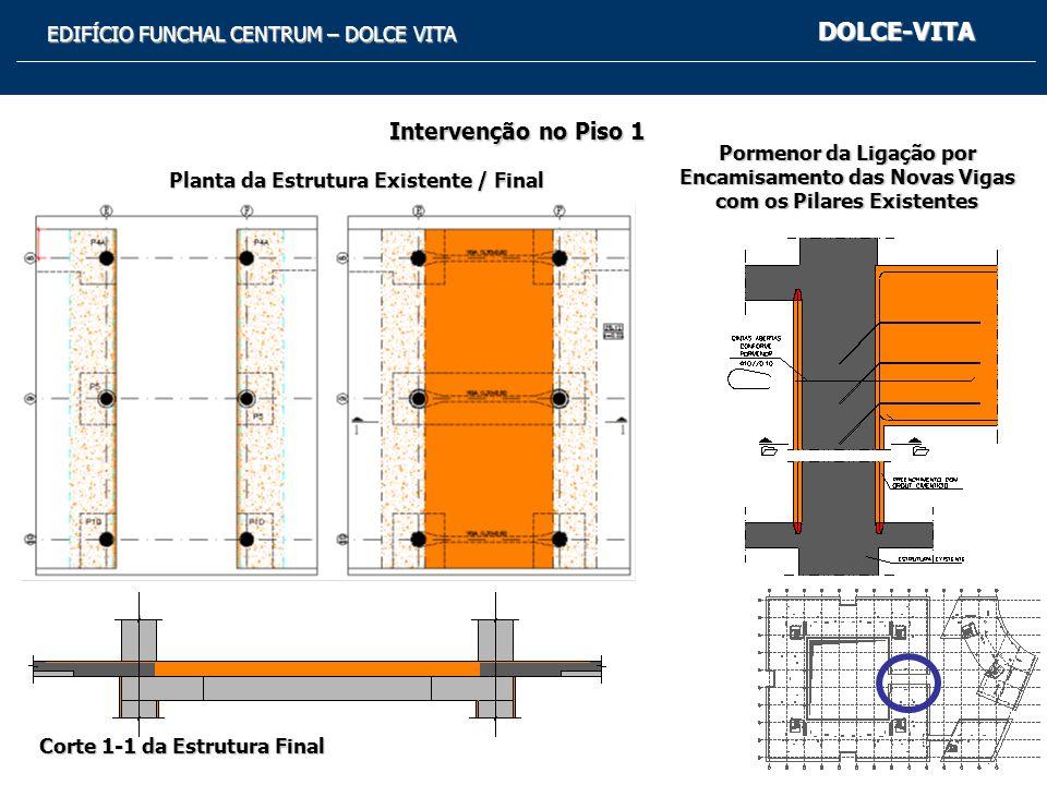 Planta da Estrutura Existente / Final Corte 1-1 da Estrutura Final