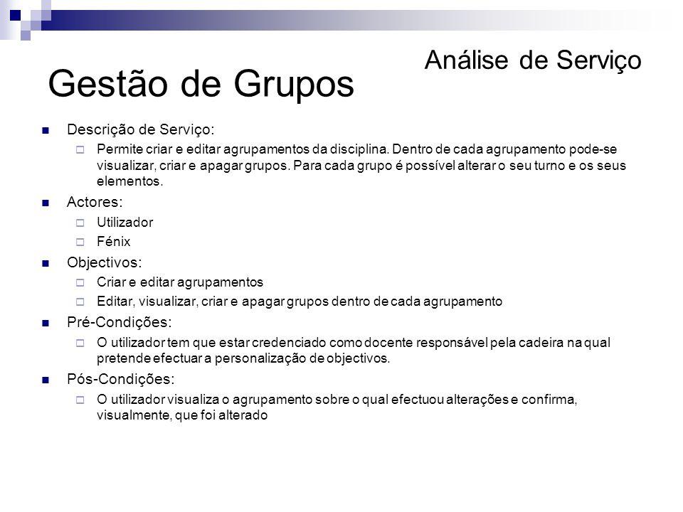 Gestão de Grupos Análise de Serviço Descrição de Serviço: Actores: