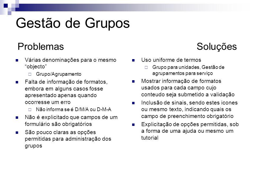 Gestão de Grupos Problemas Soluções