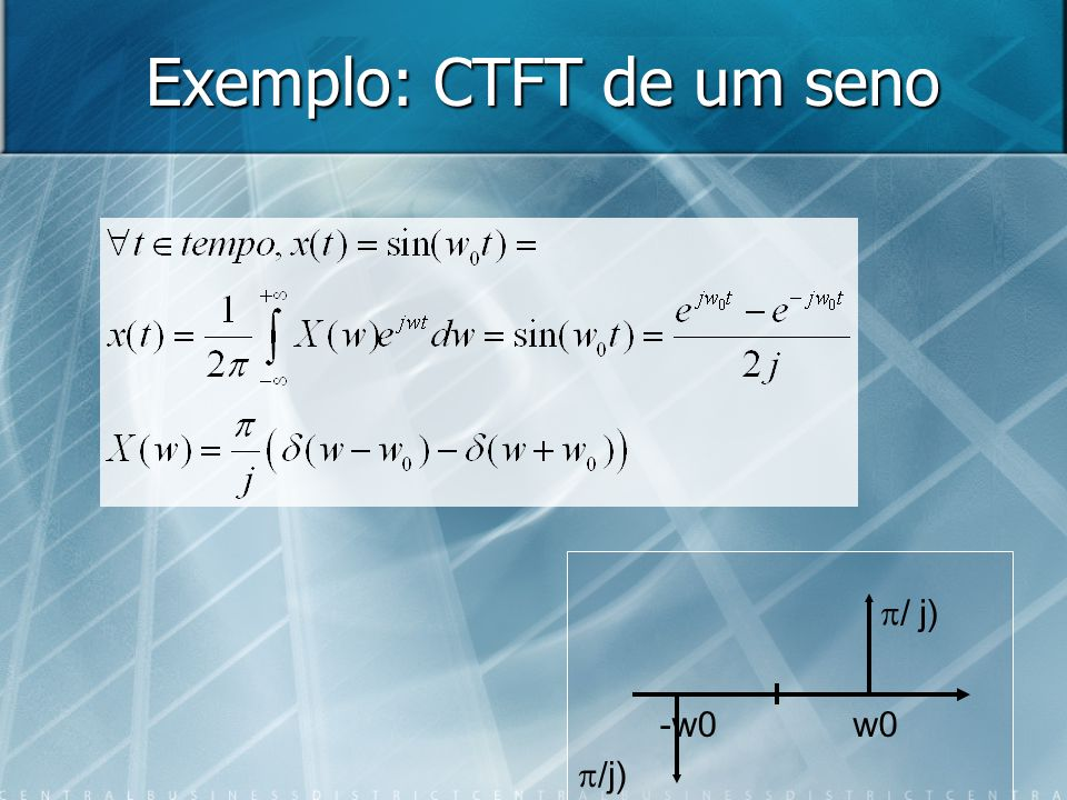 Exemplo: CTFT de um seno