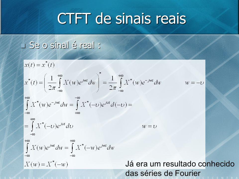 CTFT de sinais reais Se o sinal é real : Já era um resultado conhecido