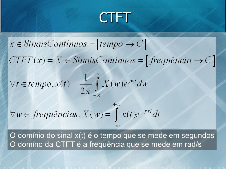 CTFT O domínio do sinal x(t) é o tempo que se mede em segundos