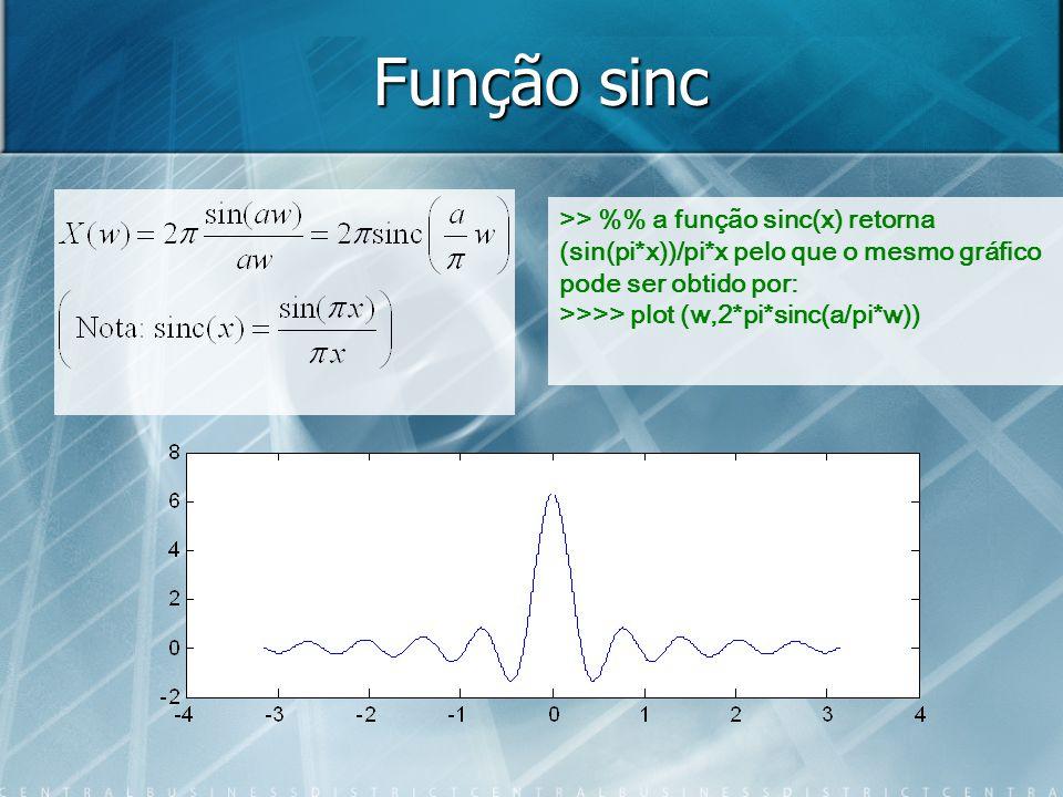 Função sinc >> %% a função sinc(x) retorna (sin(pi*x))/pi*x pelo que o mesmo gráfico pode ser obtido por: