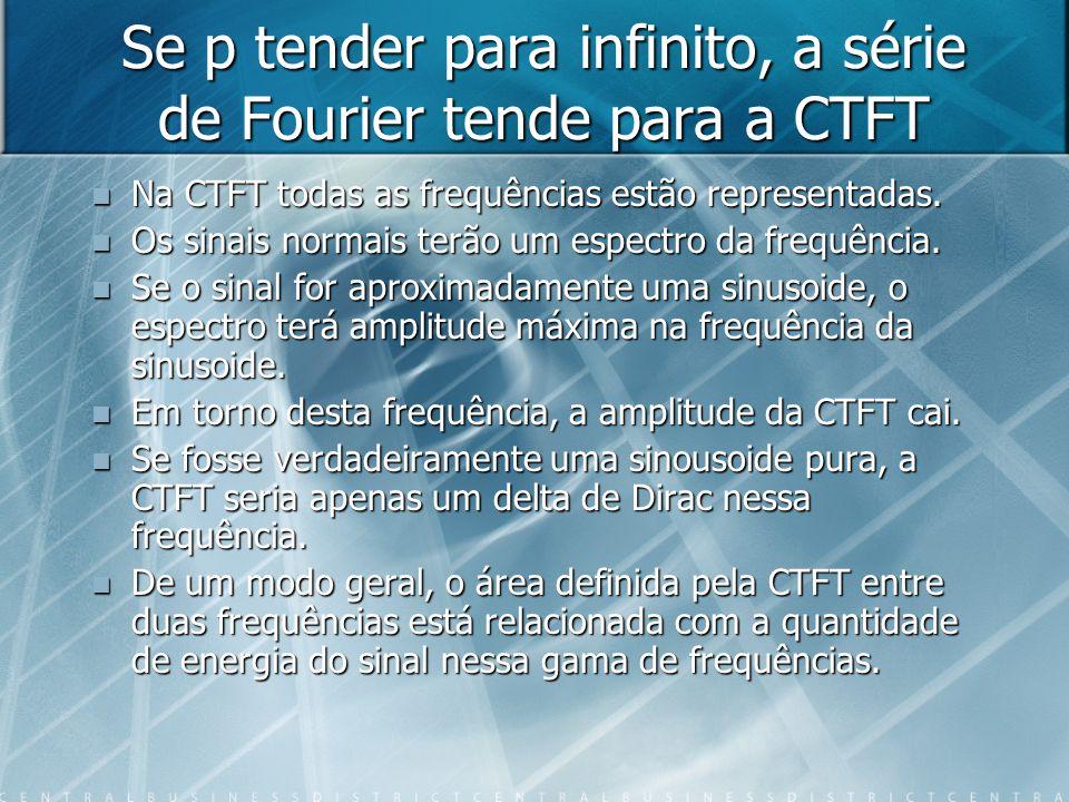 Se p tender para infinito, a série de Fourier tende para a CTFT