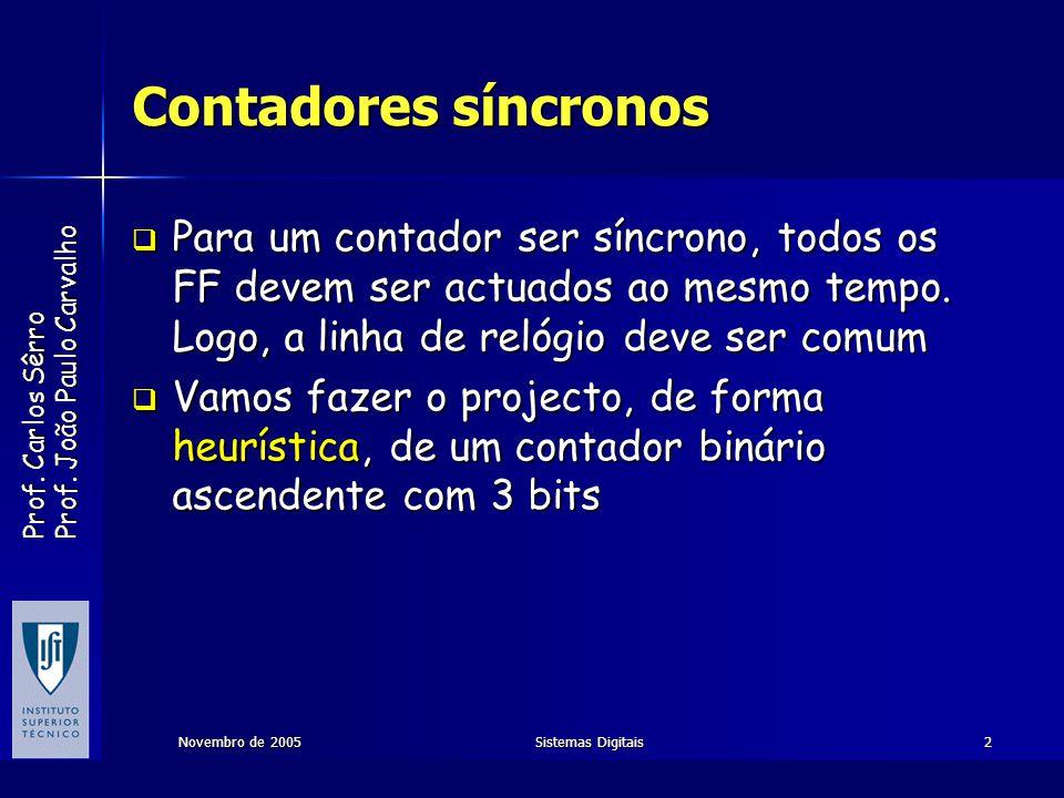 Contadores síncronos Para um contador ser síncrono, todos os FF devem ser actuados ao mesmo tempo. Logo, a linha de relógio deve ser comum.