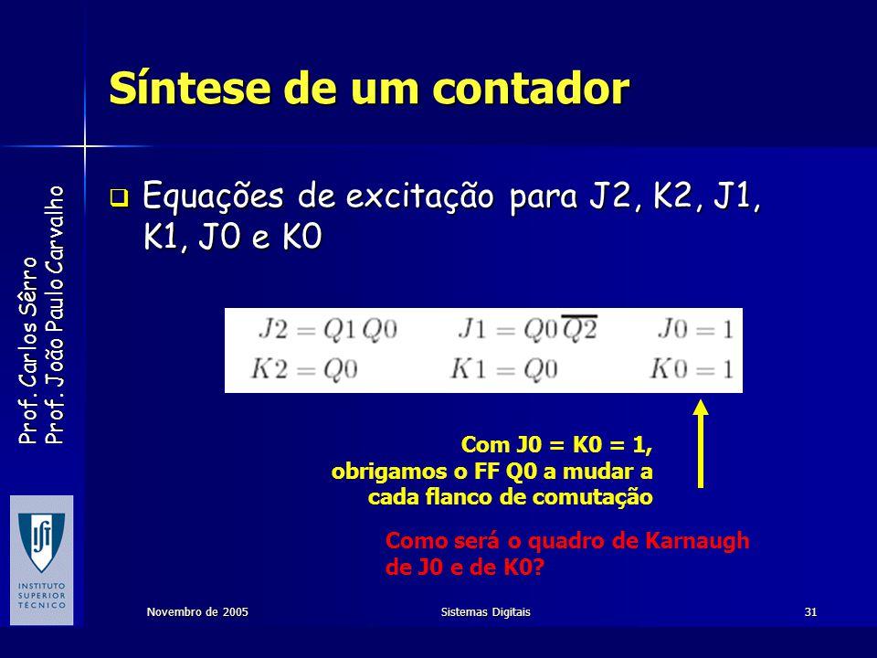 Síntese de um contador Equações de excitação para J2, K2, J1, K1, J0 e K0. Com J0 = K0 = 1, obrigamos o FF Q0 a mudar a.