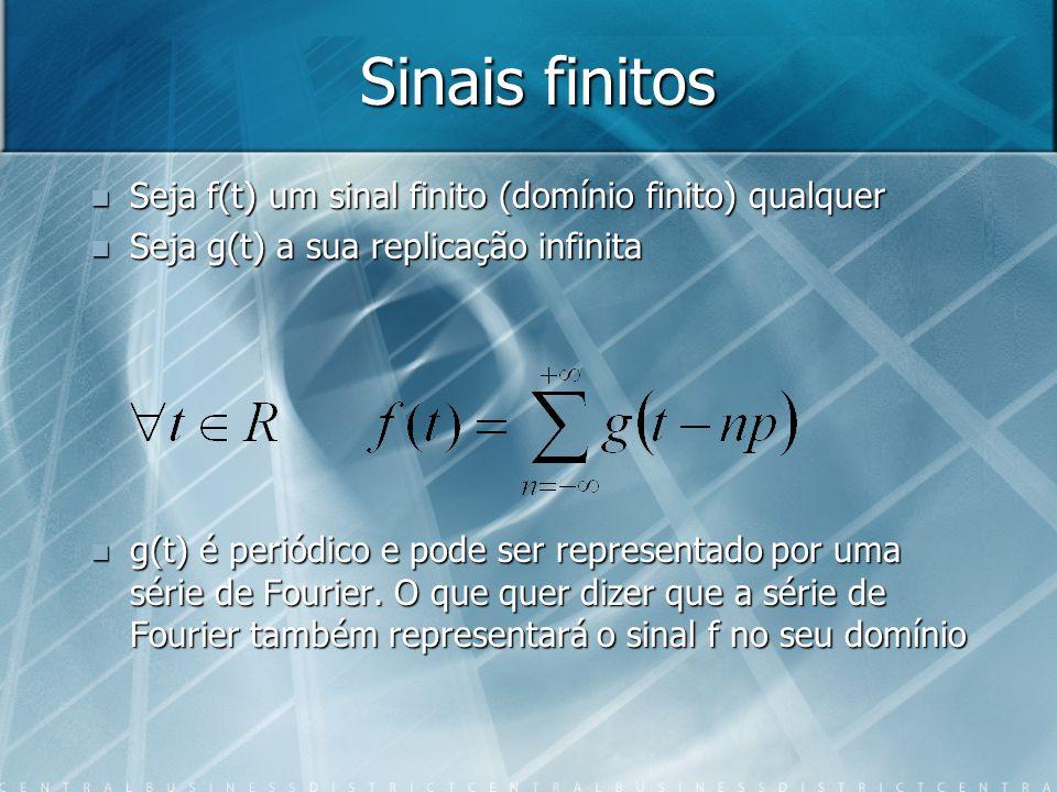 Sinais finitos Seja f(t) um sinal finito (domínio finito) qualquer