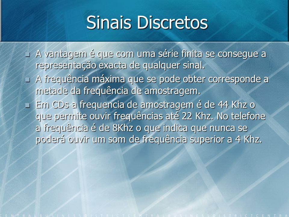 Sinais Discretos A vantagem é que com uma série finita se consegue a representação exacta de qualquer sinal.