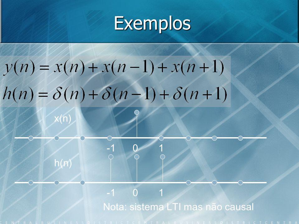 Exemplos x(n) -1 1 h(n) 1 -1 Nota: sistema LTI mas não causal