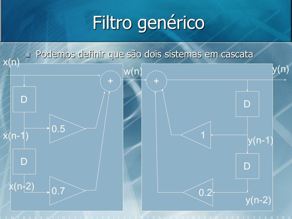 Filtro genérico Podemos definir que são dois sistemas em cascata x(n)