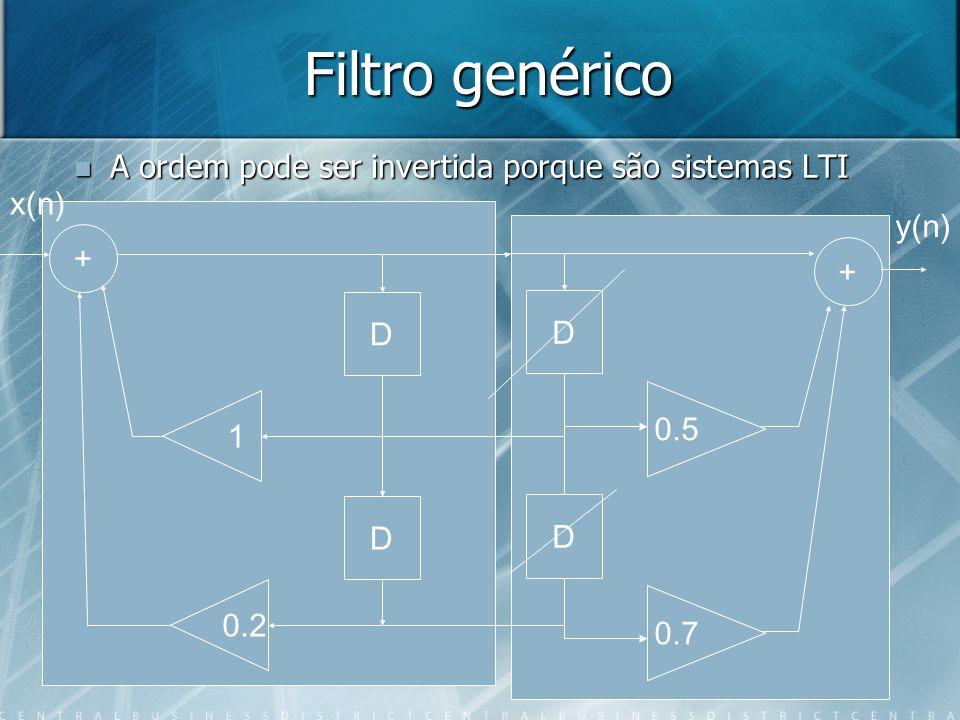 Filtro genérico A ordem pode ser invertida porque são sistemas LTI