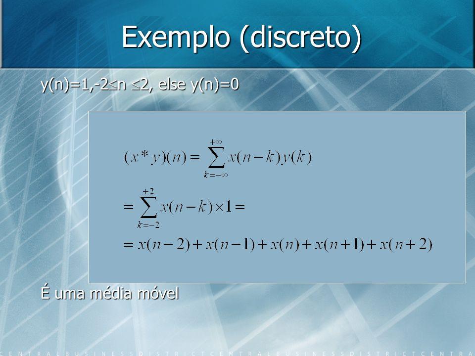 Exemplo (discreto) y(n)=1,-2n 2, else y(n)=0 É uma média móvel