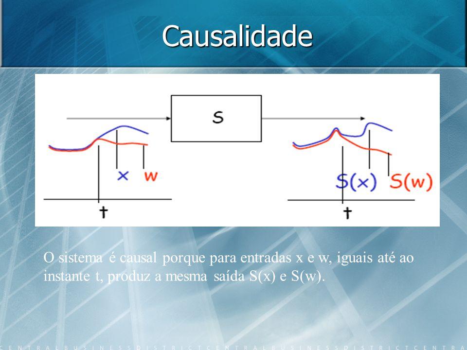 Causalidade O sistema é causal porque para entradas x e w, iguais até ao.