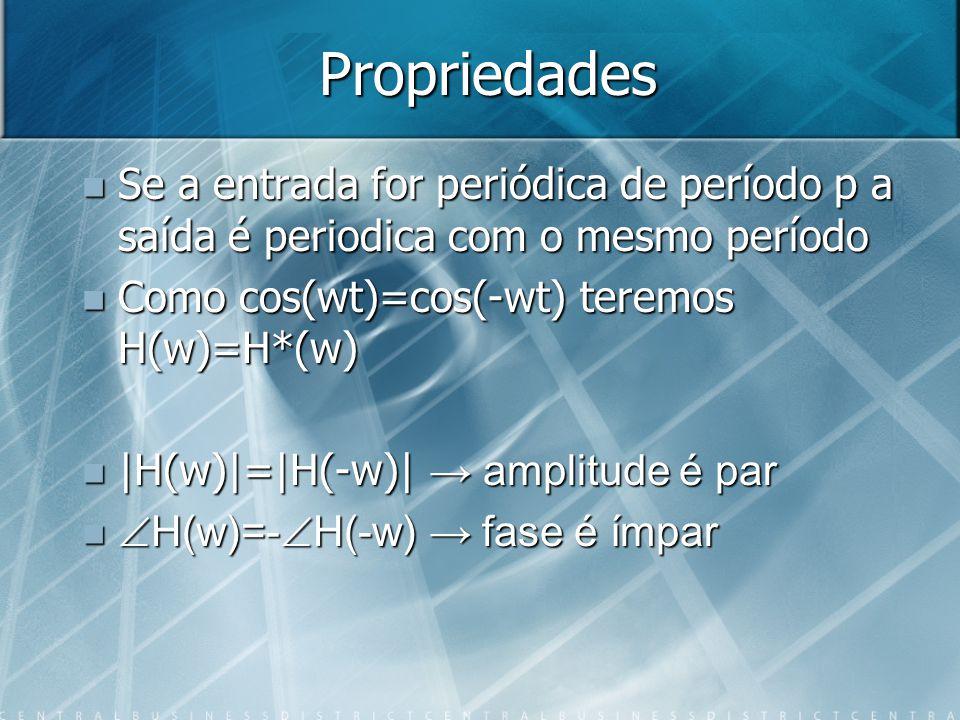 Propriedades Se a entrada for periódica de período p a saída é periodica com o mesmo período. Como cos(wt)=cos(-wt) teremos H(w)=H*(w)