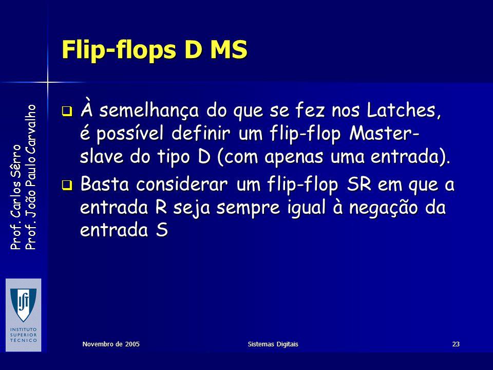 Flip-flops D MS À semelhança do que se fez nos Latches, é possível definir um flip-flop Master-slave do tipo D (com apenas uma entrada).