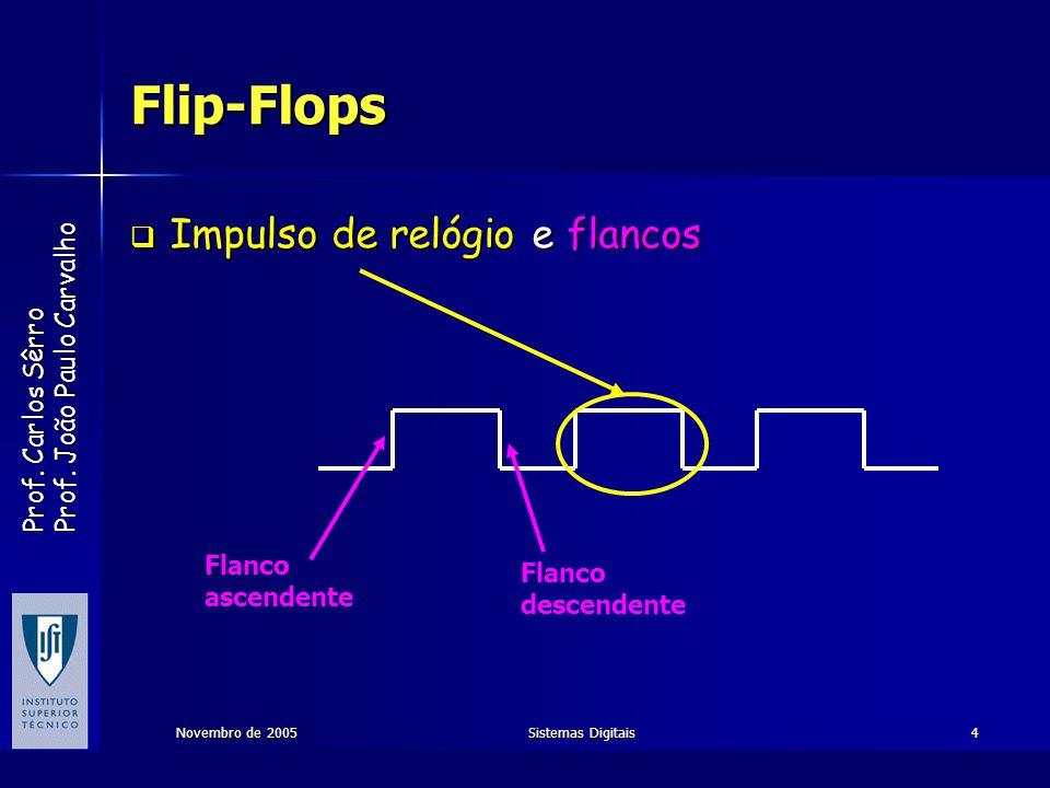 Flip-Flops Impulso de relógio e flancos Flanco Flanco ascendente
