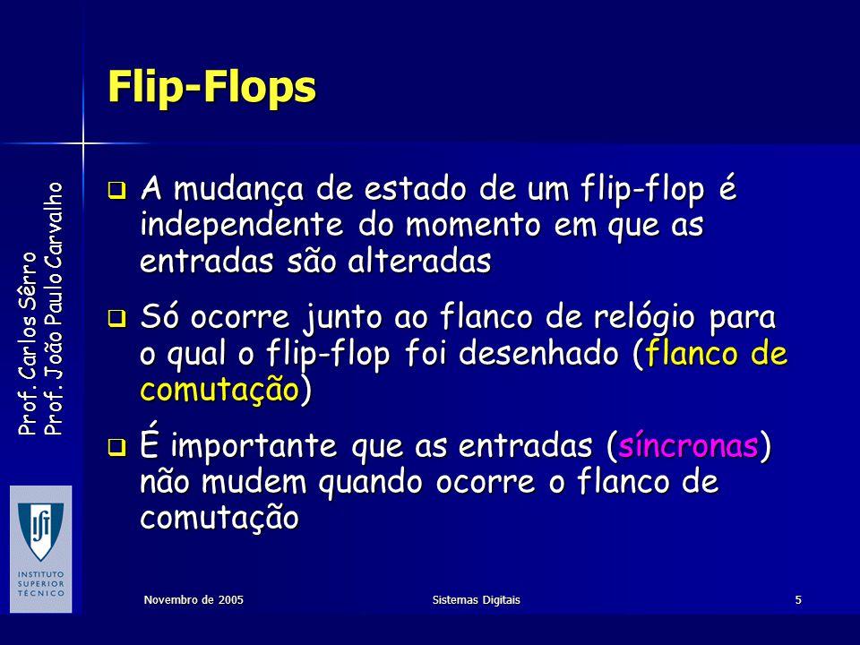 Flip-Flops A mudança de estado de um flip-flop é independente do momento em que as entradas são alteradas.