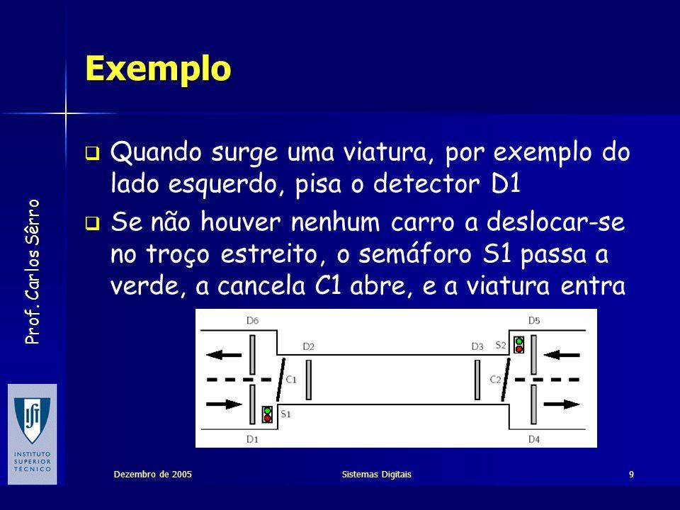 Exemplo Quando surge uma viatura, por exemplo do lado esquerdo, pisa o detector D1.