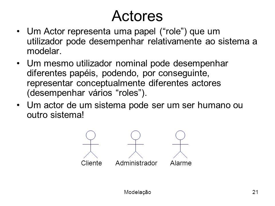 Actores Um Actor representa uma papel ( role ) que um utilizador pode desempenhar relativamente ao sistema a modelar.