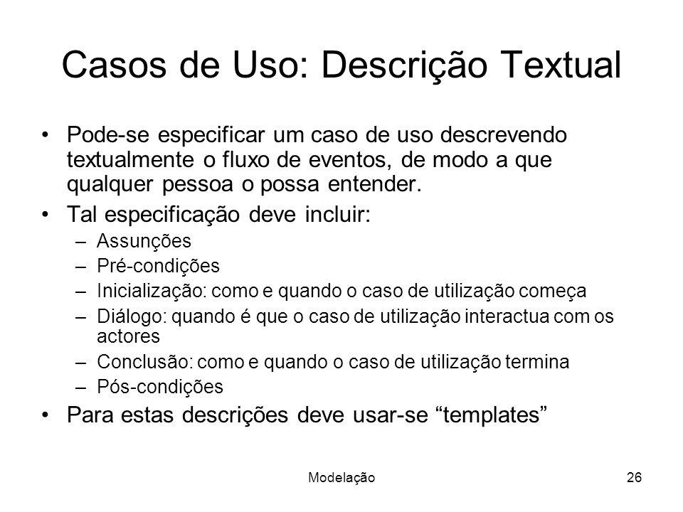 Casos de Uso: Descrição Textual
