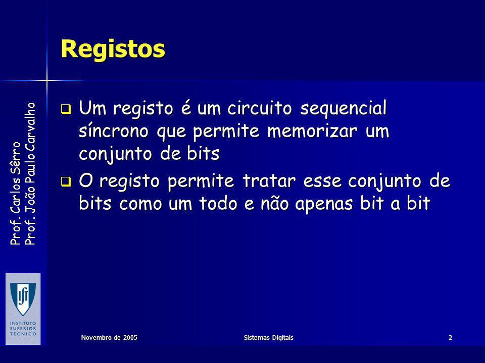Registos Um registo é um circuito sequencial síncrono que permite memorizar um conjunto de bits.