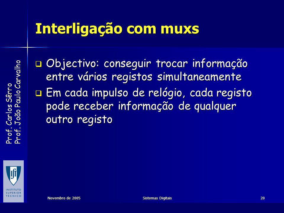 Interligação com muxs Objectivo: conseguir trocar informação entre vários registos simultaneamente.