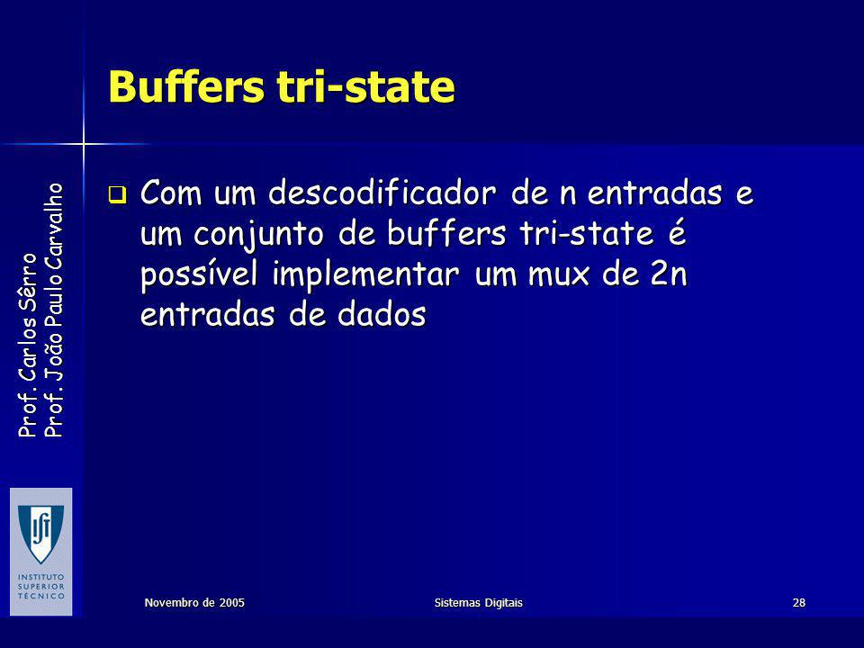 Buffers tri-state Com um descodificador de n entradas e um conjunto de buffers tri-state é possível implementar um mux de 2n entradas de dados.