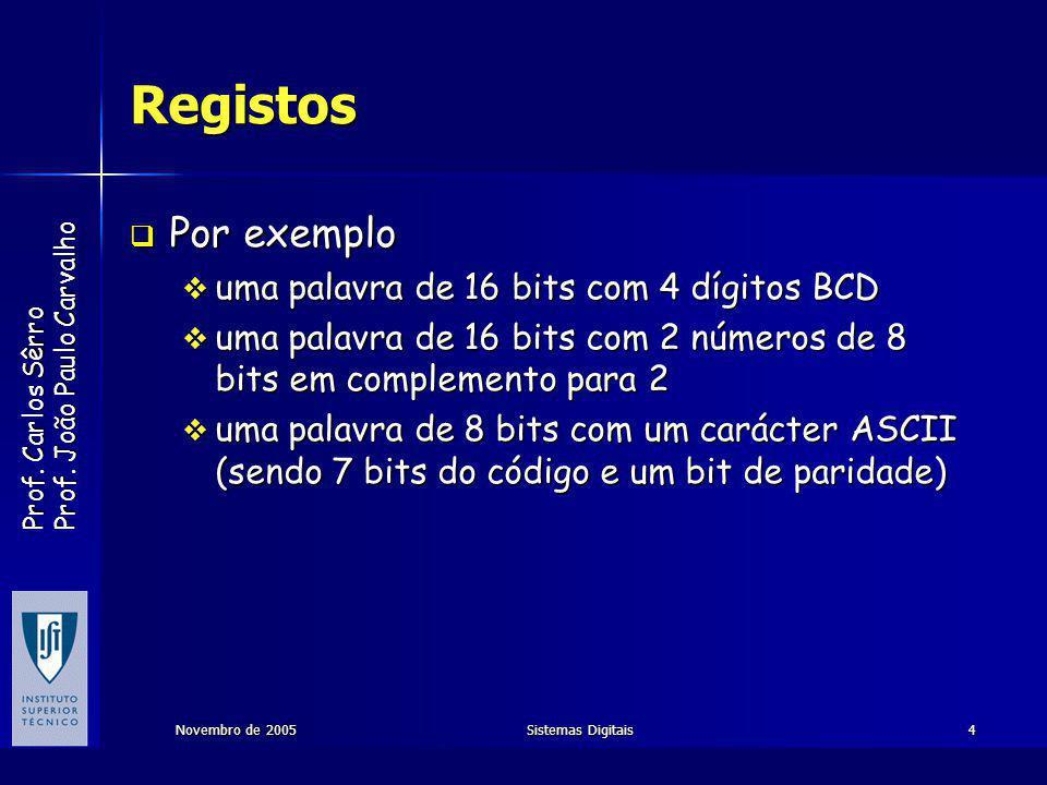 Registos Por exemplo uma palavra de 16 bits com 4 dígitos BCD