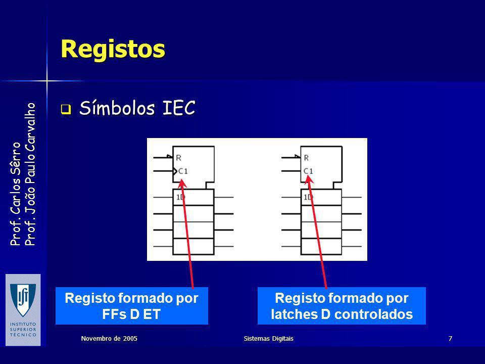 Registo formado por FFs D ET Registo formado por latches D controlados