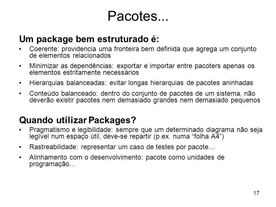 Pacotes... Um package bem estruturado é: Quando utilizar Packages