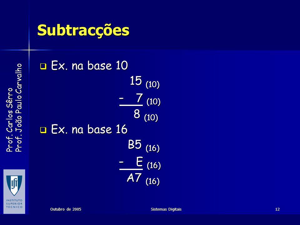Subtracções Ex. na base 10 15 (10) - 7 (10) 8 (10) Ex. na base 16