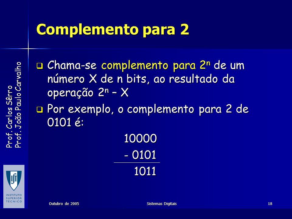 Complemento para 2 Chama-se complemento para 2n de um número X de n bits, ao resultado da operação 2n – X.