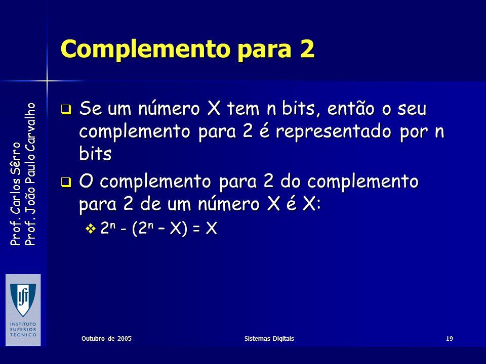 Complemento para 2 Se um número X tem n bits, então o seu complemento para 2 é representado por n bits.
