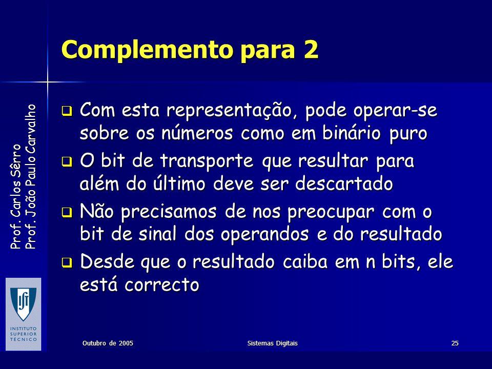 Complemento para 2 Com esta representação, pode operar-se sobre os números como em binário puro.