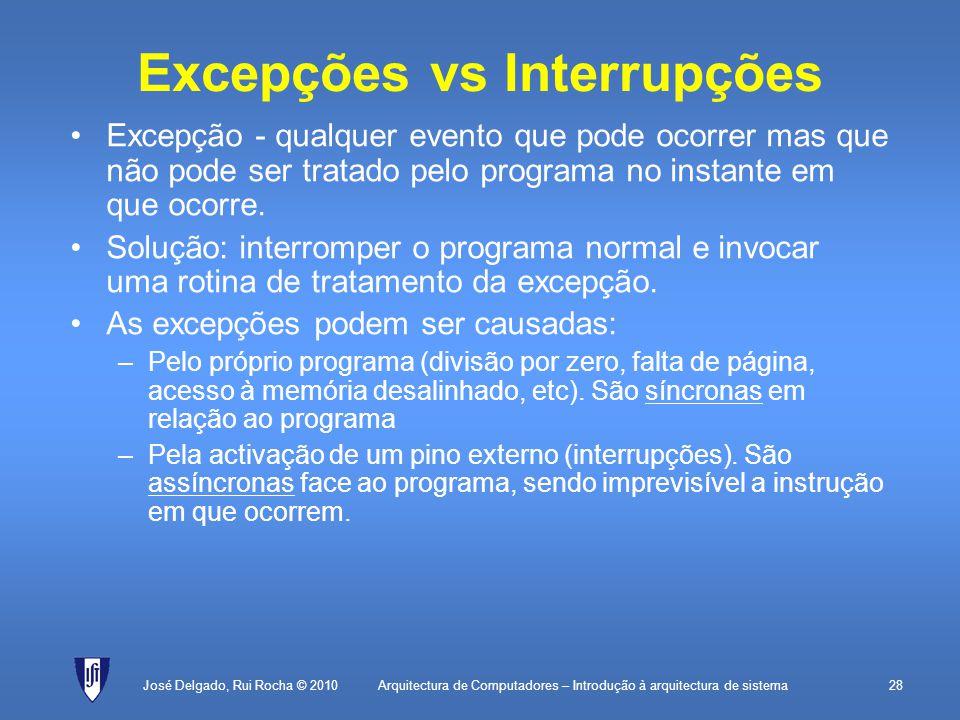 Excepções vs Interrupções