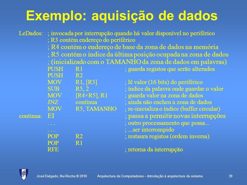 Exemplo: aquisição de dados