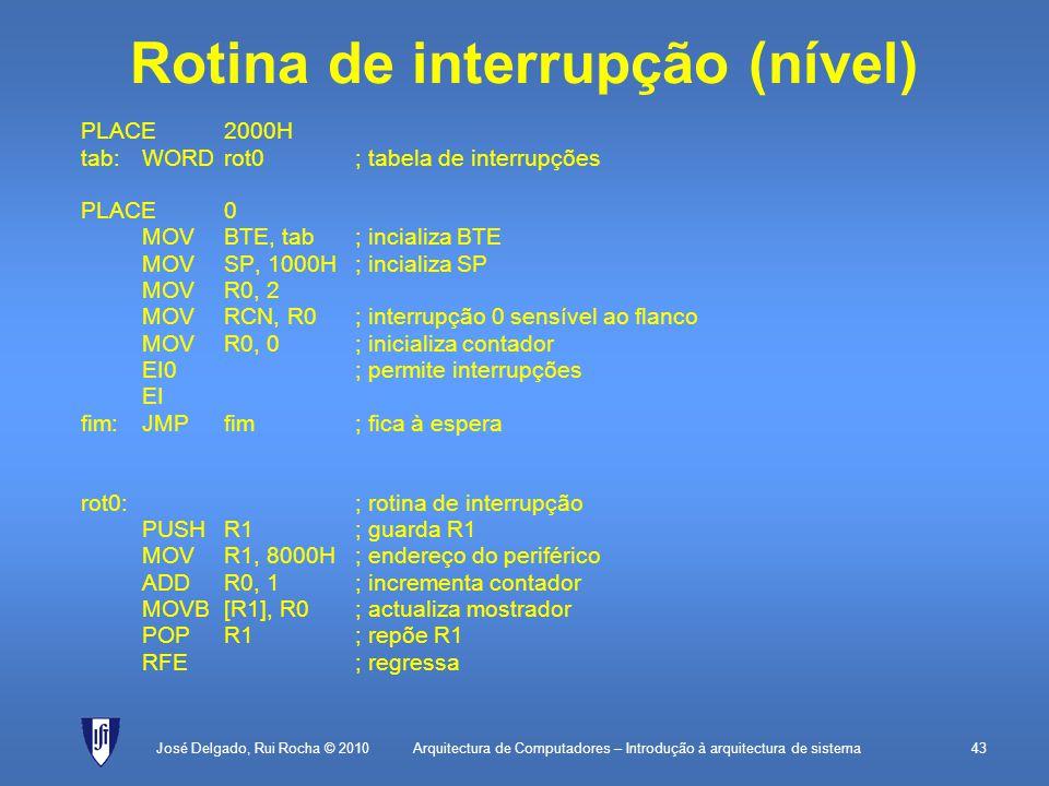 Rotina de interrupção (nível)