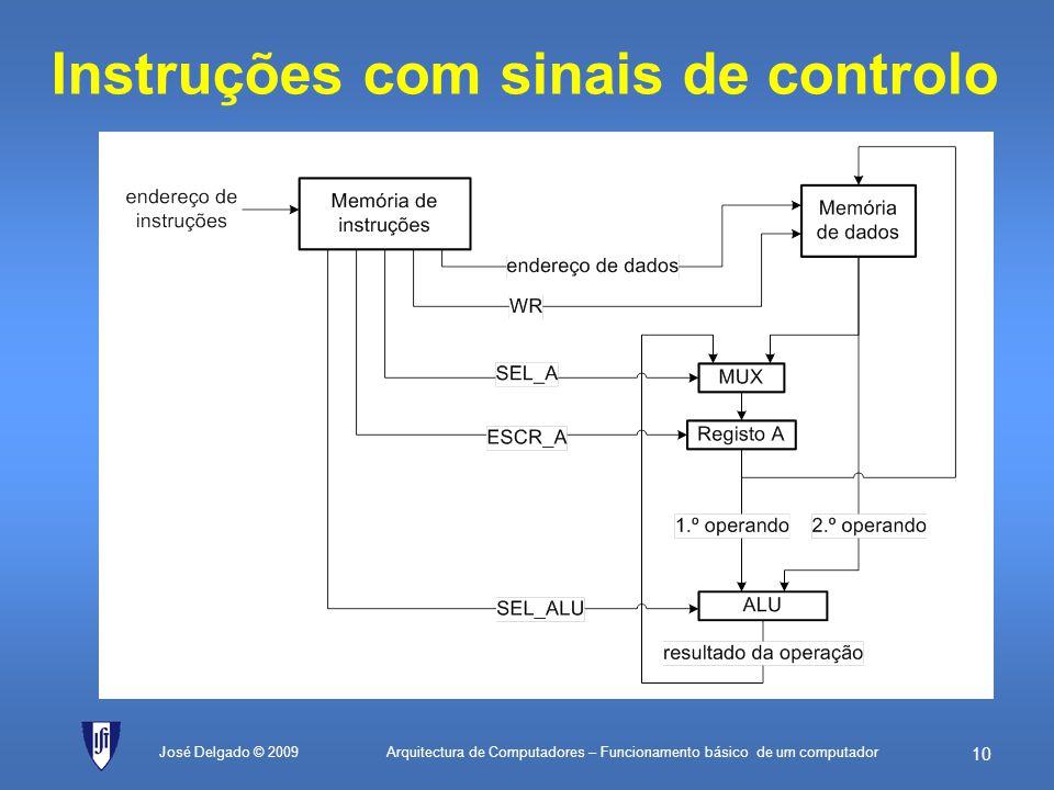 Instruções com sinais de controlo